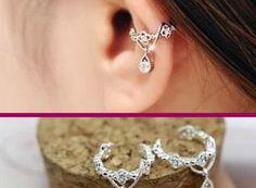 Dangling Flower Crown Rhinestone Ear Cuff(Single, No Piercing) | LilyFair Jewelry