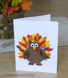 """Adorable Quilled Thanksgiving card. This is a great quilling beginners project - mainly using the """"eye"""" quilled shape. Love this cute little Quilled Turkey!"""