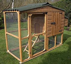 I like this coop because it has a man-door, an external egg collection door, and also the profile is narrow,   so that it could be tucked away unobtrusively on a city or suburb lot.