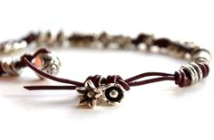 Purple Leather Bracelet Simple Leather Bracelet by Phoebedreams, $27.50