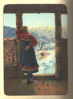 Kvinne i einestrødd sval ventar mannen heim. Ruteåkle er hengt til lufting.   by Osterøy Museum