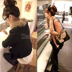 Lady's Women's Korea Winter Fashion Faux Fox Fur Collar Short Woolen Coat New