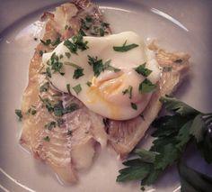 Smoked haddock with poached egg.
