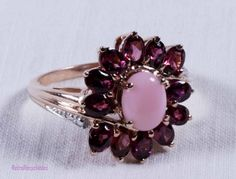 Genuine Peruvian pink and rhodolite garnet rose gold over sterling ring size 9…