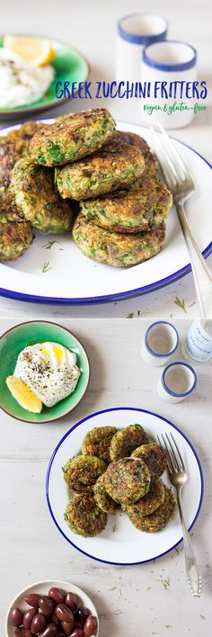 Zucchini fritters are a classic Greek mezze dish. These are vegan and gluten-free yet as tasty as the traditional ones! Zucchini fritters are a classic Greek mezze dish. These are vegan and gluten-free yet as tasty as the traditional ones! Vegetarian Recipes Easy, Veggie Recipes, Appetizer Recipes, Whole Food Recipes, Vegan Vegetarian, Cooking Recipes, Healthy Recipes, Kitchen Recipes, Jalapeno Recipes