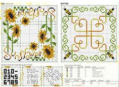 <3 Cross-stitch Sunflowers Biscornu