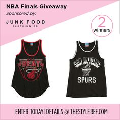 #NBAFinals #Giveaway from @Junk Food Clothing: Win a #Miami #Heat or #SanAntonio #Spurs tank! Enter by midnight on 6/11/2014 at www.thestyleref.com