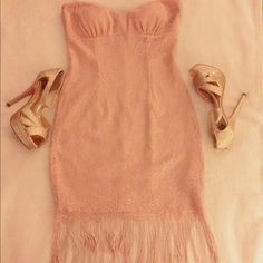 Adorable Dress Hard to let go, very cute dress, like new only used it once, its a light/pink/peach color ,  perfect dress for a night out, size small. Dresses Strapless