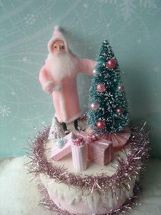 putz box | Trinket Box VINTAGE STYLE spun cotton Santa | Christmas Putz