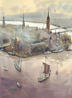 Stockholm, Sweden II by Keiko Tanabe Watercolor ~ 23 x 17 inches (58 x 43 cm)