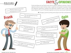This fact and opinion worksheet guides your child to learning the difference between facts and opinions. Try this fact and opinion worksheet with your student. Reading Comprehension Worksheets, Reading Resources, Reading Strategies, Reading Skills, Teaching Reading, Reading Help, Writing Skills, Teaching Ideas, Learning