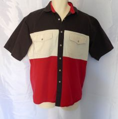 Get ready for 4th of July parties and barbecues Western Style!  Mens M Vintage Wrangler Western Cotton Shirt Red White Black Snaps 4th of July #Wrangler #Western