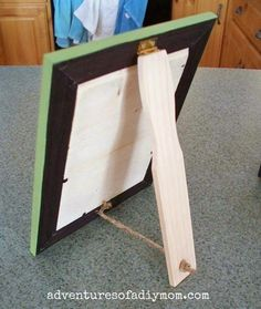 Diy Picture Frame Stand How To Make A Beadboard Picture Frame Bought The Other Day Get Home Twins Had Broken Leg On Back Looked For Receipt Clothespin Picture Frames, Photo Frame Ornaments, Picture Stand, Picture On Wood, Frame Crafts, Wood Crafts, Diy Projects To Try, Wood Projects, Personalized Photo Frames