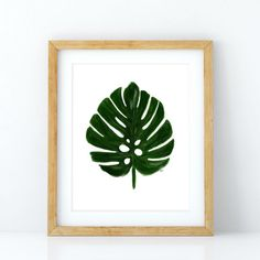 Monstera Leaf Print Monstera Deliciosa Tropical by shopdoodlesink