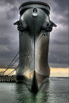 The Proud Bow of Iowa Class Battleship Wisconsin at berth in Norfolk.
