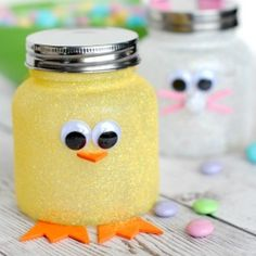 Add a little sparkle and sweet to your Easter with these darling little Easter Candy Jars. Easy to make and perfect for kids!
