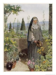 Saint Clare of Assisi Tending to Plants, Eleanor Fortescue Brickdale Catholic Art, Catholic Saints, Roman Catholic, Religious Art, Clare Of Assisi, St Clare's, Bride Of Christ, Les Religions, Arte Obscura