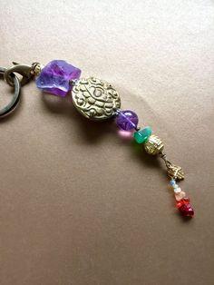 Lotus Amulet Unique Handmade Keychain Boho Beads by MinedStars