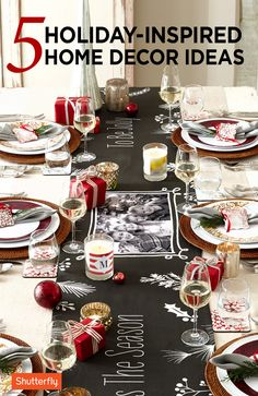 Tis the season for celebrating! Invite the family to dinner this holiday and showcase unique finds like Shutterfly's personalized plates, table runners, glasses, bedding and more. Christmas Is Coming, All Things Christmas, Winter Christmas, Christmas Home, Christmas Ideas, Merry Christmas, Christmas Kitchen, Christmas Printables, Homemade Christmas