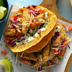 Fantastic Fish Tacos Recipe -Searching for a lighter substitute to traditional fried fish tacos, I came up with this crispy, crunchy entree. It's been a hit with friends and family. —Jennifer Palmer, Rancho Cucamonga, California