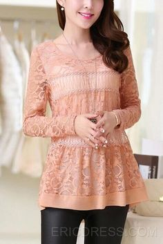 Solid Color Long Sleeves Lace Blouse Blouses