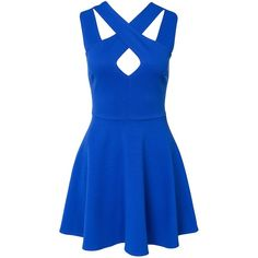 Nly One Cross Front Skater Dress ($47) ❤ liked on Polyvore featuring dresses, vestidos, robes, short dresses, blue, party dresses, womens-fashion, blue cocktail dress, short blue cocktail dresses and blue circle skirt