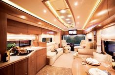 Yes, this is inside a motorhome/RV. Perhaps it will not be the mopst fuel efficient way to roam the road, but still Rv Interior, Motorhome Interior, Trailer Interior, Modern Interior, Motorhome Living, Luxury Interior, Interior Ideas, Camping Con Glamour, Luxury Rv Living