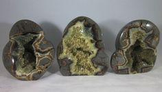 Set of 3 Premium Hollow Septarian Nodule - Freeform Sculptures from Utah