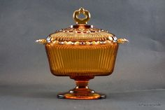 Indiana Glass Amber Lace Edge Candy Box ca by soflacollectors86, $15.00