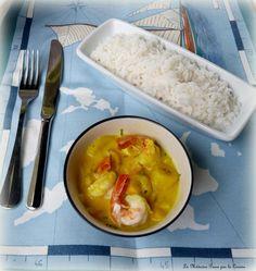 Curry de crevettes, mangue et banane plantain