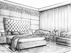 Эскизное изображение интерьера спальни загородного дома в Подмосковье | Interior design sketch of bedroom. Concept