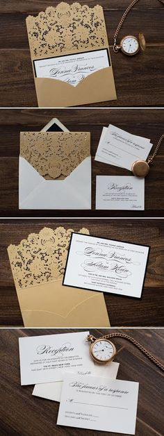 Luxe laser-cut pocket wedding invitations in a timeless gold and black color scheme by Penn & Paperie. Photo by Taylor Cotilla Photography in PA.
