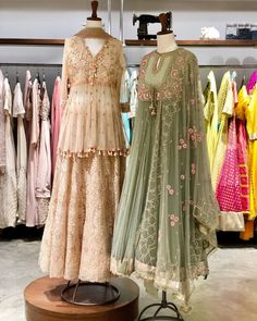 Modern colour palette meet traditional silhouettes to create a whole new aesthetic. Pakistani Formal Dresses, Indian Gowns Dresses, Pakistani Dress Design, Pakistani Outfits, Wedding Dress, Indian Wedding Outfits, Bridal Outfits, Indian Outfits, Dr Martens Outfit