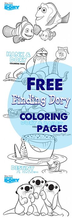 Free Finding Dory Coloring Pages - (amagicalmess) Free Disney Coloring Pages, Colouring Pages, Free Coloring, Adult Coloring Pages, Coloring Pages For Kids, Coloring Sheets, Coloring Books, Kids Coloring, Disney Colors