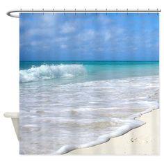 Waves Tropical Beach Island White Sand Shower Curtain Curtains