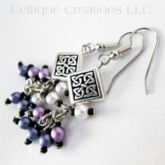 Handmade Celtic Knot Earrings Purple Ombre Cluster Faux Pearl Dangles | celtique_creations - Jewelry on ArtFire