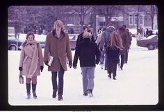"""Ball State University students walking through snow covered campus"" --To learn more, visit the Ball State University Campus Photographs in the Ball State University Digital Media Repository. Copyright 2013, Ball State University. All rights reserved"