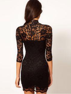Sexy Style Lady V Neck Slim 3/4 Sleeve Lace Bandeau Mini Dress - US$10.49