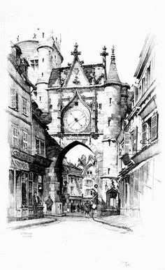 Samuel Chamberlain (1895-1975-American) - L'Horloge, Auxerre - 1924