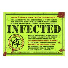 Infected Notice Zombie Halloween Party Invitations- can edit ALL words! love!!