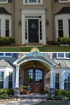 Hard to believe this is the same home. Traditional front door and sidelites unit was replaced with custom mahogany doors with a radius top, and a new portico and stonework added to the front of the home. The result is absolutely breathtaking. | Atlanta Home Exterior Remodeler | EXOVATIONS