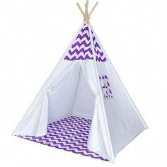 A Mustard Seed Toys Chevron Teepee Tent for Kids - Portable Cotton Canvas Tent with Carrying Case, Makes a Great Indoor Playhouse (Purple)