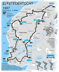 The route of the legendary Dutch ice skating tour 'De Elfstedentocht' ('Eleven Cities Tour') the last time it was held, 18 years ago. [[MORE]]The winner that year was Henk Angenent, who finished the. United Nations Peacekeeping, Holland Netherlands, Travelling Tips, Winter Sports, Rotterdam, Hiking Trails, Dutch, Places To Go, Beautiful Places