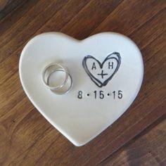 Image of Heart Shaped monogram ring dish, wedding ring holder, Engagement Gift,  Gift Boxed