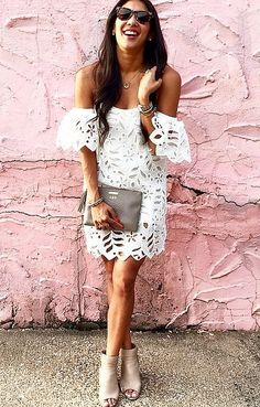 An Off-the-Shoulder White Dress With Mules and a Clutch