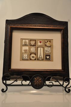 Framed Vintage Sampler, Stampin Up! Artistic Etchings...