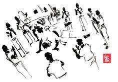 "Encres : Capoeira – 468 ""floating roda"" [ #capoeira #watercolor #illustration]"