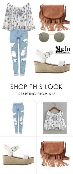"""SHEIN Top"" by tania-alves ❤ liked on Polyvore featuring Topshop, WithChic, Steve Madden, Apt. 9 and Ray-Ban"