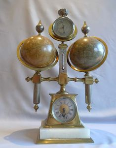 Desk compendium with two rotating terrestrial & celestial globes, thermometer, barometer & compass at Gavin Douglas Fine Antiques Ltd. in London, specialists in antique clocks and decorative gilt bronze Antique Desk, Antique Clocks, Industrial Clocks, French Industrial, Uncommon Objects, Novelty Clocks, Tick Tock Clock, Magnetic Compass, Steampunk Clock
