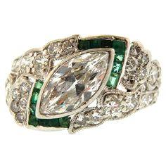 Art Deco Platinum, Diamond & Emerald Ring, 1920